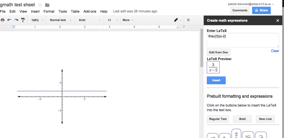 gMath Add-on for Google Docs/Sheets | Donovanscience